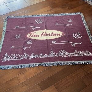 TIM HORTONS WOVEN BLANKET THROW 100% COTTON